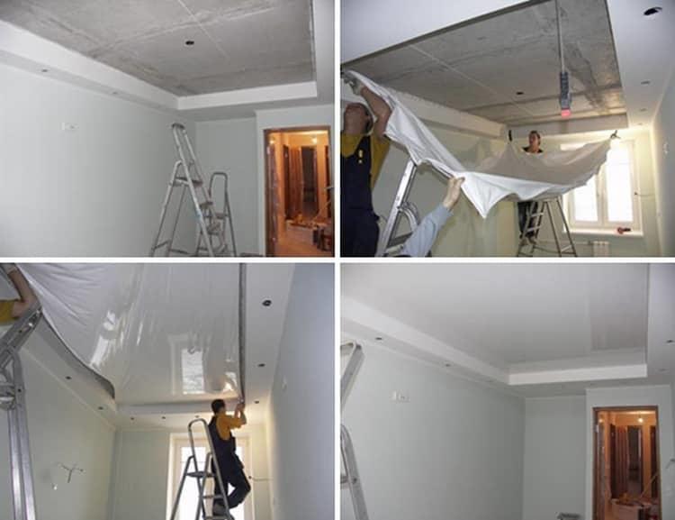 натяжные потолки фото до и посленатяжные потолки фото до и после